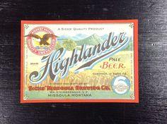Sick's Highlander Beer IRTP Beer Label Missoula Montana