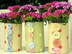 floreros con botones