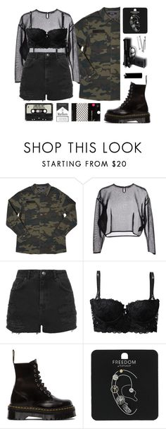 """""""Untitled #150"""" by tttlsp ❤ liked on Polyvore featuring Yves Saint Laurent, Topshop, H&M, Dr. Martens, Dorothy Perkins and WALL"""