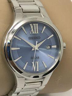 Seiko Women's Silver Tone Dress Analog Solar Blue Dial Date Watch V137-0BH0 #Seiko #DressFormal