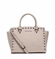 NWT MICHAEL Michael Kors Gray Selma Stud Leather Medium Top Zip Satchel Bag New #MichaelKors #Satchel