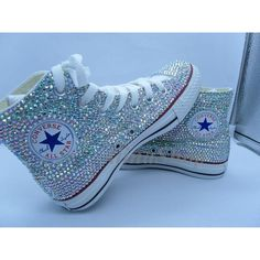 AB bling Wedding Converse Shoes rhinestone sparkle Bridal Converse... ($169) ❤ liked on Polyvore