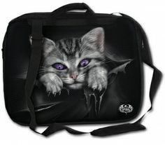 Bright Eyes, gothic fantasy metal kitten laptop bag www.