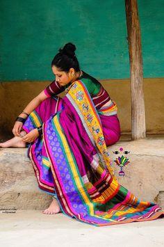 Vibrant and beautiful Indian saree or sari with blouse. Indian fashion.