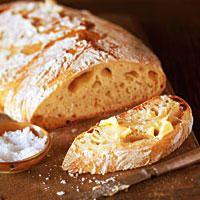Zutaten für das Rezept Ciabatta: Mehl, Wasser, Trockenbackhefe, Meersalz