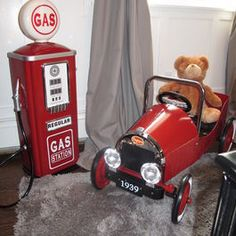 Boy's vintage truck room, red pedal car, gas tank! Sweet Lullaby 201-485-7571
