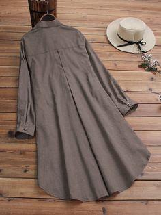 Casual Lapel Button Solid Color Long Sleeve Plus Size Long Blouse femme Stylish Dresses, Casual Dresses, Fashion Dresses, Casual Clothes, Pakistani Fashion Casual, Muslim Fashion, Dress Neck Designs, Blouse Designs, African Shirt Dress