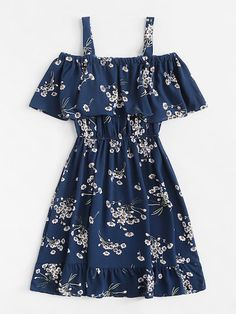 Classy Fashion Tips Cold Shoulder Floral Print Tiered DressFor Women-romwe.Classy Fashion Tips Cold Shoulder Floral Print Tiered DressFor Women-romwe Cute Girl Outfits, Cute Summer Outfits, Cute Casual Outfits, Pretty Outfits, Pretty Dresses, Stylish Outfits, Summer Dresses, Woman Outfits, Stylish Dresses