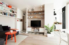 Apartament de 2 camere excelent amenajat in 36 mp - imaginea 1 Home Staging, Small Apartments, Interior Design Inspiration, Home Projects, Bookcase, Floor Plans, Shelves, Flooring, Living Room