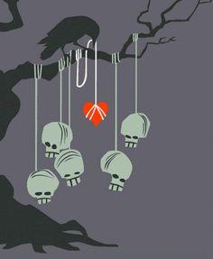 halloween samhain tree skull raven heart tattoo graphic papercut death hanging
