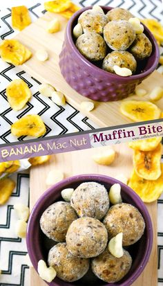 banana mac nut muffin protein bites! Great for breakfast on the go or post workout snack! They are grain free, healthy, and full of fiber!