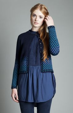 Traigh cardigan in blues by Jade Starmore