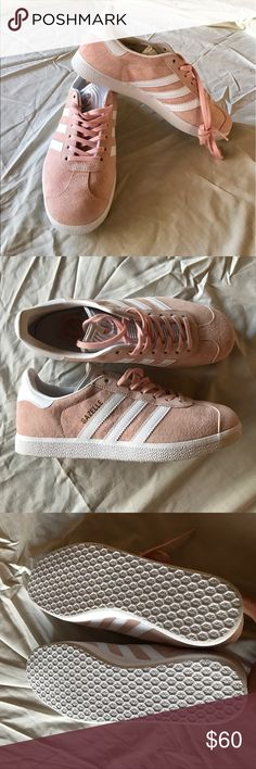 Adidas pink gazelle shoes BRAND NEW CONDITION of Adidas pink gazelle shoes. NEVER WORN OUTSIDE (see picture of soles) and no creases in front of shoe. Do not fit me. Baby pink suede outside and pristine white tongue and inside. Perfect condition! PLEASE be familiar with adidas sizing!!  Pet free and smoke free home! Cleaning out my closet with only good clothes and low prices! Make me an offer and let's negotiate! Bundle and save! adidas Shoes Sneakers