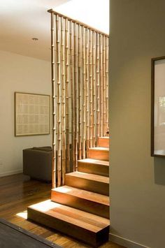 I think this railing created by bamboo is absolutely beautiful.    And of course, bamboo is a totally sustainable resource and is fantastic at sequestering carbon from the environment too.
