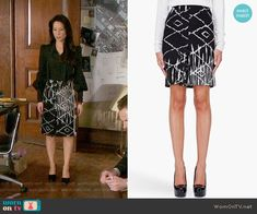 Joan's black and white printed skirt on Elementary. Outfit Details: https://wornontv.net/56115/ #Elementary