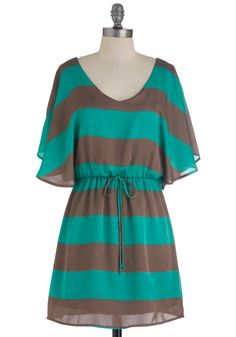 Refashion idea...On Occasion Dress - Short, Green, Brown, Stripes, Casual, A-line, Short Sleeves