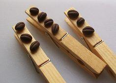 mollette chiudipacco di legno con applicazioni in fimo