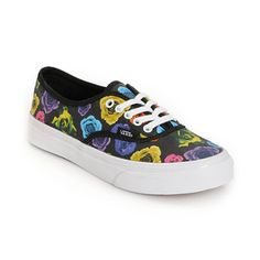 Flower Power at its finest, the girls Rose Authentic Slim shoe from Vans Shoes is a classic cut low top shoe with a black background and all-over colorful Rose print. This vulcanized girls shoe features a thick all white sole with traditional waffle tread, eye metal eyelets and laces, and double stitched canvas construction for ultimate durability. Pair the girls Vans Authentic Slim shoe with anything neon and you're set for style. The sizes shown are in women's.Find your Vans shoe…