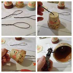 Vintage Clay Pot Snowman Ornaments