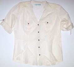 NEW Maurices XXL Short Sleeve Striped Lace Shoulders Camp Shirt Top Ivory Cream  #Maurices #ButtonDownShirt #Casual