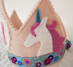 Unicorn Birthday Party  Felt Birthday Crown by mosey on Etsy, $32.00
