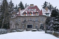 The Pittock Mansion is a French Renaissance château in the West Hills of Portland, Oregon originally built as a private home for The Oregonian publisher Henry Pittock and his wife, Georgiana. It is a 22 room estate built of Tenino Sandstone situated on 46 acres (190,000 m2) that is now owned by the city's Bureau of Parks and Recreation and open for touring.[1] In addition, the grounds provide panoramic views of Downtown Portland.