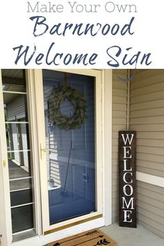 Make Your Own Barnwood Welcome Sign. It's a perfect addition to your front porch or entry. Farmhouse Side Table, Farmhouse Style Kitchen, Modern Farmhouse Kitchens, Closet Layout, Christmas Room, Bedroom Layouts, Painted Doors, Vases Decor, Kitchen Styling