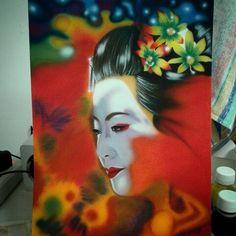 Geisha, eseguito con aerografo e tecnica mista su foglio ruvido