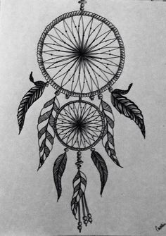 Dream catcher with pen and ink