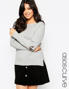 ASOS CURVE Boxy Sweater With French Bulldog Elbow Patch