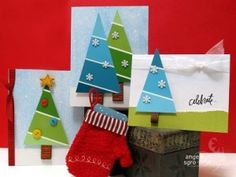 paint chip trees for christmas cards