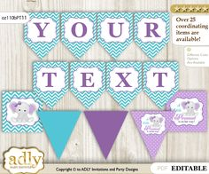 ADLY Invitations and Digital Party Designs - Personalized Girl Elephant Printable Banner for Baby Shower, Purple teal, Peanut, $10.00 (http://www.adlybabyshower.com/personalized-girl-elephant-printable-banner-for-baby-shower-purple-teal-peanut/)