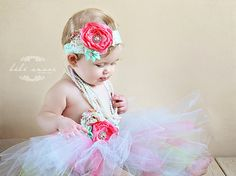 Flower girl headbandsIvory and pink Baby girl by SAVANIboutique