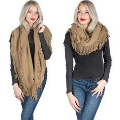 Camel Women Winter Warm Fringe Tassel Neck Knit Cable Infinity Cowl Scarf Wrap