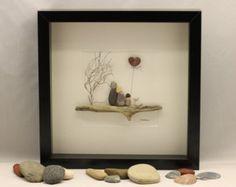 Kieselstein Kunst Bild Liebe Vögel. von PebbleartShop auf Etsy