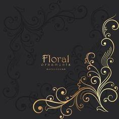 fundo escuro com elemento floral dourado Vetor grátis