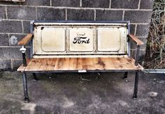 Yesterday Reclaimed's Blue Collar Bench - 1950's Ford tailgate. The original tailgate bench. Made in Culpeper, VA.  www.yesterdayreclaimed.com