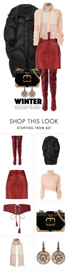 """""""A Cosy Warm Winter"""" by quirico ❤ liked on Polyvore featuring Cape Robbin, Chen Peng, Sandro, Ann Demeulemeester, Maison Boinet, Prada and Selim Mouzannar"""