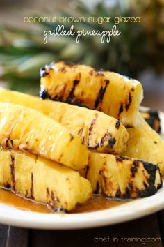 Coconut Brown Sugar Glazed Grilled Pineapple from chef-in-training.com …This recipe is AMAZING and perfect for summer! Click through for recipe!