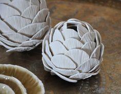 Textured Porcelain Artichoke Vase  Vessel by elementclaystudio