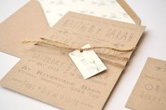 Rustic Brown wedding stationery range invitation | Grace & Bramble kraft card, twine, luggage tag, envelope liners, matching rustic, vintage, barn, outdoor, invite