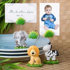 Jungle Critters Place Card and Photo Holders - Set of 12