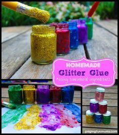 Homemade Glitter Glue - Easy and inexpensive to make using household items! This is one craft recipe to 'save' for sure!