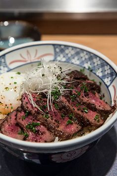Gorgeous Wagyu Donburi (Wagyu Beef Bowl) with Onsen Tamago at the Fat Cow. Yummy!