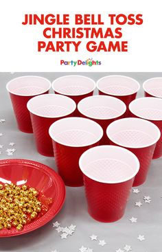 This jingle bell toss game is a fun Christmas party game idea that kids and adults will love! All you need is some red cups and mini gold bells for hours of fun! Head over to blog.partydelights.co.uk to find out how to play and for even more Christmas party ideas.