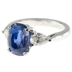 Peter Suchy Natural GIA Cert Blue Violet Sapphire Diamond Platinum Ring | From a unique collection of vintage engagement rings at https://www.1stdibs.com/jewelry/rings/engagement-rings/