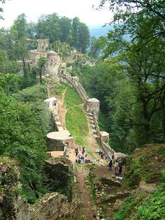 Castle in Iran Roudkhan castle is one the most glorious historical buildings of Gilan region. Roudkhan is a fort built upon a mountain which is 15.5 miles (25 Kilometers) far away from the town of Fouman.