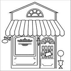 Restaurants are fun to visit and Restaurant Coloring Pages are fun to color. Add your own flair and express your creative side with our free coloring pages. Restaurant Coloring Pages House Colouring Pages, Coloring For Kids, Coloring Pages For Kids, Adult Coloring, Coloring Books, Arte Pop Up, Building Drawing, Doodles, House Drawing