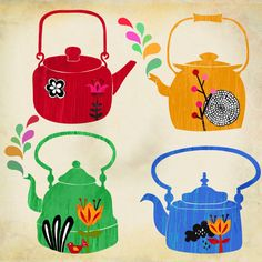 vintage kettles art print   by sevenstar on etsy
