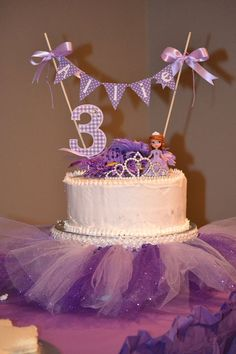 Inspired Image of Sofia The First Birthday Cake . Sofia The First Birthday Cake Sofia The First Birthday Cake Topper And Tutu Monicadawndesigns Sofia The First Birthday Cake, Princess Sofia Birthday, First Birthday Cake Topper, 3rd Birthday Parties, Princess Sofia Cake, 2nd Birthday, Birthday Ideas, Princess Party, Tutu Birthday Cake